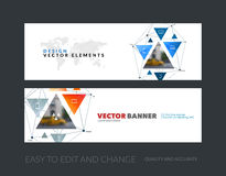 Vector set of modern horizontal website banners with triangular. Shapes, triangles, polygons, mesh for science, travel, network, communication.  Clean web Royalty Free Stock Photo
