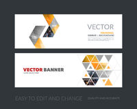 Vector set of modern horizontal website banners with yellow arro royalty free illustration