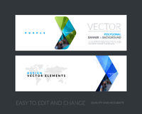 Vector set of modern horizontal website banners with yellow arro Stock Images