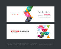 Vector set of modern horizontal website banners with yellow arro Stock Photos