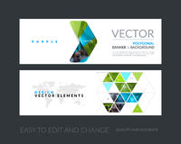 Vector set of modern horizontal website banners with yellow arro Royalty Free Stock Photos