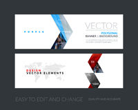 Vector set of modern horizontal website banners with yellow arro Royalty Free Stock Photography