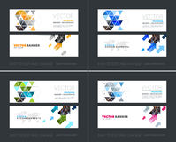 Vector set of modern horizontal website banners with yellow diag. Vector set of modern horizontal website banners with colourful diagonal triangles for industry Royalty Free Stock Images