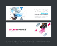 Vector set of modern horizontal website banners with yellow diag royalty free illustration