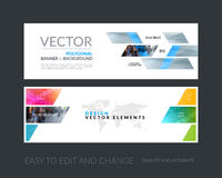 Vector set of modern horizontal website banners with yellow dyna Stock Images