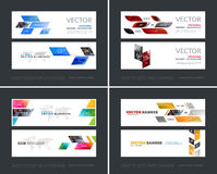 Vector set of modern horizontal website banners with yellow dyna Stock Photo