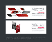Vector set of modern horizontal website banners with yellow dyna Royalty Free Stock Photo
