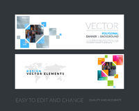 Vector set of modern horizontal website banners with yellow rect Stock Photo