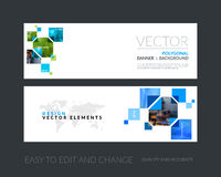Vector set of modern horizontal website banners with yellow rect Royalty Free Stock Image