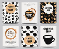 Vector set of modern posters with coffee backgrounds Stock Photos