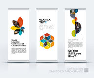 Vector set of modern roll Up Banner stand design with flower pet Royalty Free Stock Photography