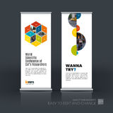 Vector set of modern roll up banner stand design with rhombus Royalty Free Stock Photography