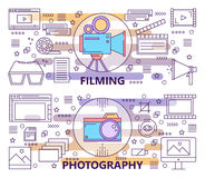 Vector set of modern thin line Photography and Filming banners. Vector set of Photography and Filming concept banners. Modern thin line flat design elements Stock Photo