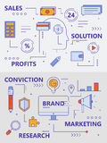 Vector set of modern thin line sales concept banners. Vector set of sales and marketing concept banners. Modern thin line flat design elements, icons for web Royalty Free Stock Images