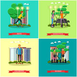 Vector set of modern transport concept posters in flat style Royalty Free Stock Images