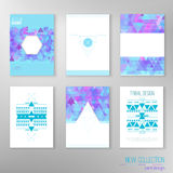 Vector set of modern tribal design cards with Royalty Free Stock Image