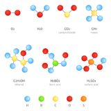 Vector Set of Molecular Formula Icons. Chemistry Concept Royalty Free Stock Images