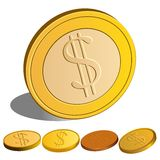 Vector Set of Money Dollar. Vector set of Dollar`s coins Stock Photos