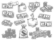 Vector set with money. Finance and money hand drown set. Flat design vector set with coins, dollars, wallet and piggy bank. Paper money vector set. Money and royalty free illustration
