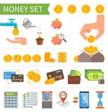 Vector set of Money and Finance icons in flat Royalty Free Stock Photo