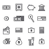 Vector set of money related outlined icons Stock Photo