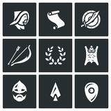 Vector Set of Mongol Tatar Yoke Icons.   Royalty Free Stock Photo