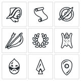 Vector Set of Mongol Tatar Yoke Icons Royalty Free Stock Photography