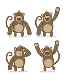Vector set of monkeys with different emotions Royalty Free Stock Images