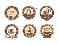 Vector set of monochrome coffee emblems, labels, badges logos. stock illustration