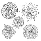 Vector Set of Monochrome Contour Floral Doodles Royalty Free Stock Photos