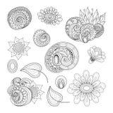 Vector Set of Monochrome Contour Floral Doodles Royalty Free Illustration