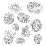 Vector Set of Monochrome Contour Floral Doodles Stock Illustration