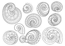 Vector Set of Monochrome Contour Floral Doodles Royalty Free Stock Images