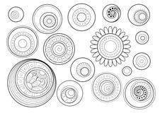 Vector Set of Monochrome Contour Floral Doodles Vector Illustration