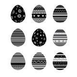 Vector set of monochrome easter eggs isolated on whitet background. Stock Images