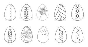 Vector set of monochrome eggs in flat line. Set of eggs in flat line. Collection of black and white eggs isolated on white background. Easter. Spring holiday vector illustration