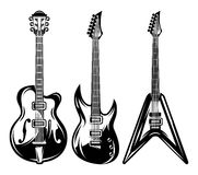 Vector set of monochrome electric guitar for poster design Royalty Free Stock Images