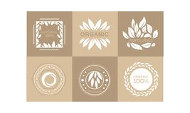 Vector set of monochrome emblems with abstract leaves and text. 100 organic. Natural product label. Collection of monochrome emblems with abstract leaves and royalty free illustration