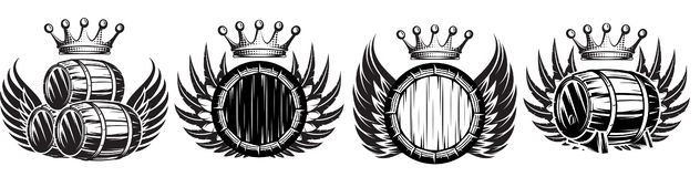 Vector set of monochrome illustrations with cask, wings and crown.  royalty free illustration