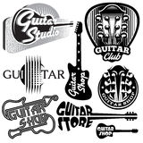 Vector set of monochrome templates for logo on the theme of music and guitar Royalty Free Stock Photo