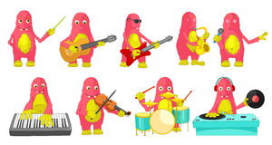 Vector set of monsters playing music illustrations Royalty Free Stock Images