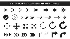 Vector Set Of Most Popular Arrows. Full Editable Icons Stock Photos
