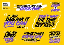 Vector Set of Motivational Quotes. Inspiring Short Phrases. Royalty Free Stock Image