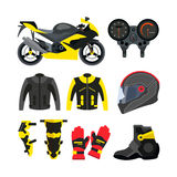 Vector set of motorcycle accessories. Design elements and icons isolated  Stock Image
