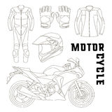 Vector set of motorcycle accessories Stock Images