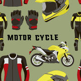 Vector set of motorcycle accessories pattern Royalty Free Stock Photo