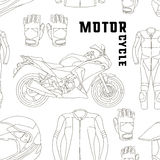 Vector set of motorcycle accessories pattern Royalty Free Stock Images