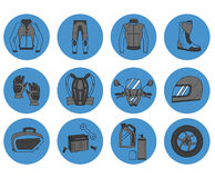 Vector set of motorcycle icons Stock Photos