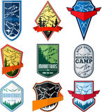 Vector set of mountain adventure camping expedition logo emblem Stock Photography