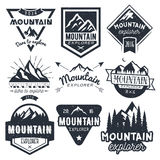 Vector set of mountain labels in vintage style. Design elements, icons, logo, emblems and badges isolated on white Royalty Free Stock Photos